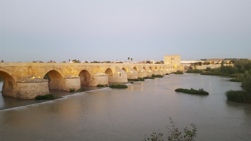 Roman bridge at Cordoba, the coolest place to hang (at night plenty of bats)